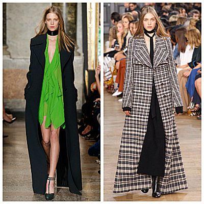 Модный показ, длинное пальто