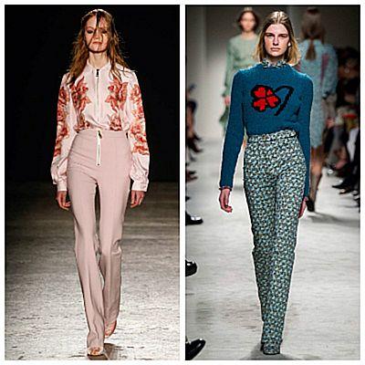 Модный показ, брюки с завышенной талией