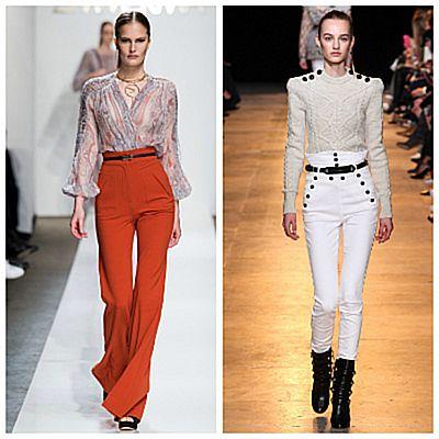 Модный показ, брюки с высокой талией