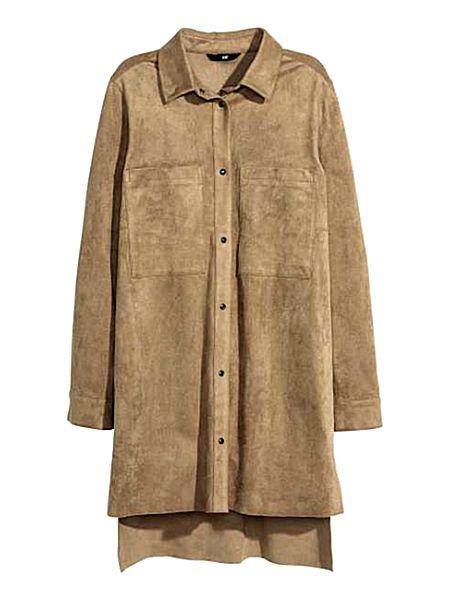 Платье-рубашка из тонкой замши H&M