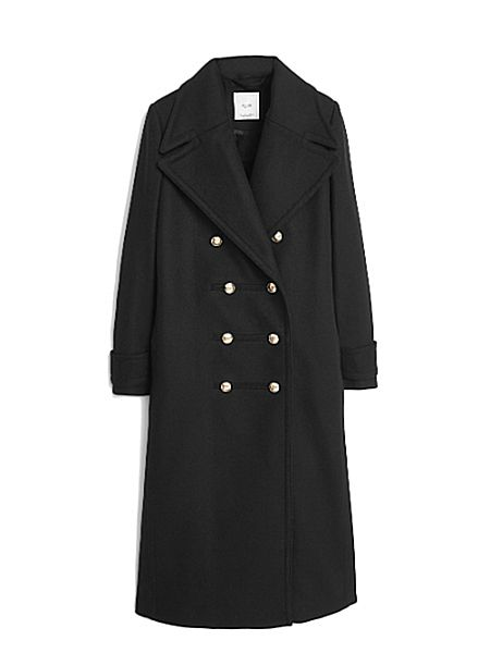 Длинное двубортное пальто Mango